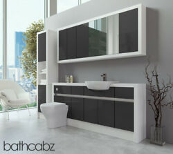 Bathroom Fitted Furniture Dark Grey Gloss/white Matt 1800mm With Wall And Tall - B