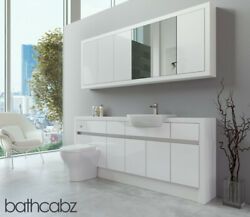 Bathroom Fitted Furniture White Gloss/white Matt 1900mm With Wall Unit - Bathcab