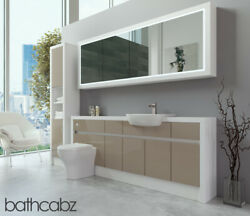 Bathroom Fitted Furniture Cappuccino Gloss/white Matt 2000mm H2 With Wall And Tall