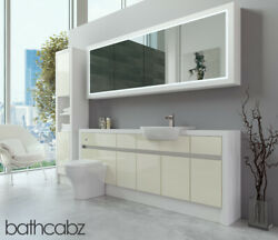 Bathroom Fitted Furniture Cream Gloss/white Matt 2000mm H2 With Wall And Tall - Ba