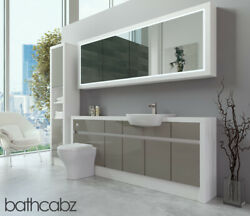 Bathroom Fitted Furniture Latte Gloss/white Matt 2000mm H2 With Wall And Tall - Ba