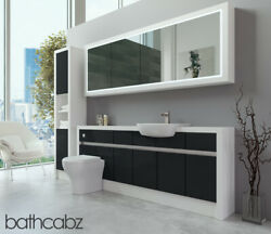 Bathroom Fitted Furniture Anthracite Gloss/white Matt 2000mm H2 With Wall And Tall