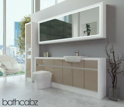 Bathroom Fitted Furniture Cappuccino Gloss/white Matt 2100mm H2 With Wall And Tall