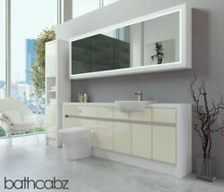 Bathroom Fitted Furniture Cream Gloss/white Matt 2100mm H2 With Wall And Tall - Ba