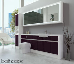 Bathroom Fitted Furniture Aubergine Gloss/white Matt 2100mm H2 With Wall And Tall