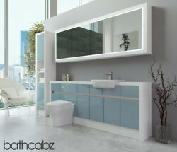 Bathroom Fitted Furniture Duck Egg Blue Gloss/white Matt 2100mm H2 With Wall And T