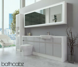 Bathroom Fitted Furniture Light Grey Gloss/white Matt 2100mm H2 With Wall And Tall