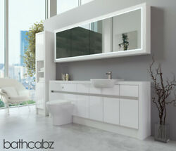 Bathroom Fitted Furniture White Gloss/white Matt 2100mm H2 With Wall And Tall - Ba