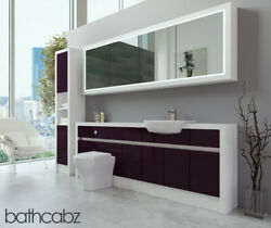 Bathroom Fitted Furniture Aubergine Gloss/white Matt 2200mm H2 With Wall And Tall