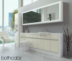Bathroom Fitted Furniture Cream Gloss/white Matt 2200mm H2 With Wall And Tall - Ba