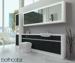 Bathroom Fitted Furniture Anthracite Gloss/white Matt 2200mm H2 With Wall And Tall