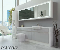 Bathroom Fitted Furniture Light Grey Gloss/white Matt 2200mm H2 With Wall And Tall
