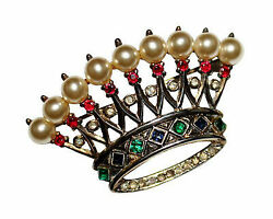 0.80ctw Rose Cut Diamond Silver Crown Victorian Inspired Antique Brooch L865