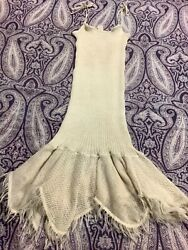 Vintage from Russia Linen Ivory Tube Fit and Flare Midi Spaghetti Strap Tie Dres