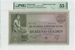 Netherlands 1000 Gulden 1938 Replacement Pick 48 Pmg About Uncirculated 55 Epq
