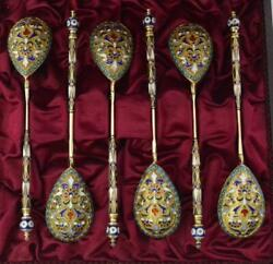 Antique 19th Original Russian Empire Set Silver 84 Spoons In Vermeil And Enamels