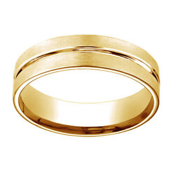 18k Yellow Gold 6mm Comfort Fit Polished Center Cut Carved Menand039s Band Ring Sz 13