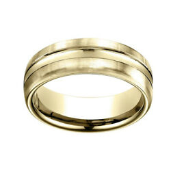 14k Yellow Gold 7.5mm Comfort Fit High Polish Center Cut Carved Band Ring Sz 5