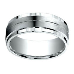 18k White Gold 8.00 Mm Comfort-fit Men's Wedding And Anniversary Band Ring Sz-7