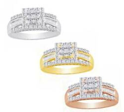 1 Ct Princess Tapered Round Cut Real Diamond In 10k Solid Gold Bridal Ring