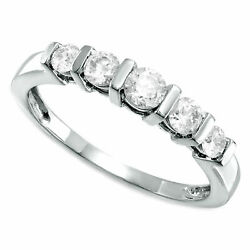 1/2 Carat Natural Real Diamond Five Stone Station Band In Real 10k White Gold