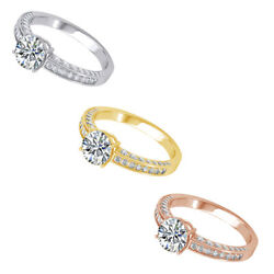 1.22 Ct Round Cut Natural Diamond 18k Solid Gold Zest Love Engagement Ring