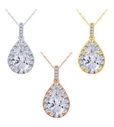 2/5 Ct Round Cut Natural Diamond Cluster Pear Pendant In 14k Gold W/chain