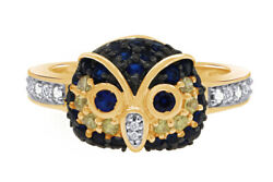 0.50 Ct Blue And Yellow Sapphire And White Diamond 14k Yellow Gold Owl Ring Sz 10