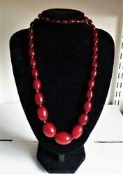 A Good Art Deco Cherry Amber Colour Bakelite Bead Necklace 36 Inches 76 Grams
