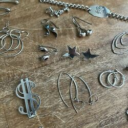 Sterling Silver .925 Mix Jewelry Lot - Rings, Earrings, Chains, Pendants 172g