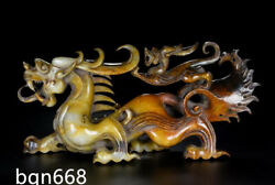 11.4 Rare Ming Dynasty Chinese Antique Hetian Jade Natural Dragon Beast Statue