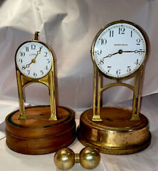 Pair Of Rare Antique Battery Never Wind Torsion Clocks- Cloister And Never Wind