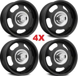 17 Vintage Wheels Rims Rally American Racing Black Classic Staggered 17x7 17x8