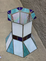 Set Of 9 Unusual Vintage/antique Stained Glass Hanging Lamps From An Old Chapel