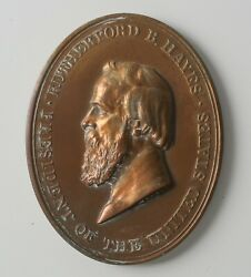 George T. Morgan Rutherford B. Hayes Bronze Indian Peace Medal Early Strike