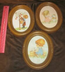 3 Vintage Homco Precious Moments Boy/girl Oval Framed Pictures Home Interior