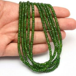 5 Strand Chrome Diopside Gemstone 3-4mm Faceted Rondelle Beads 13 Strand
