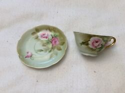 Lefton China Heritage Green Footed Cup And Saucer 05852 1987 Used