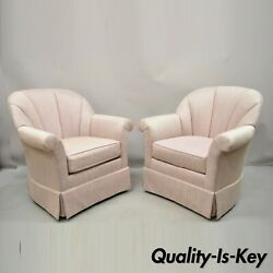Mid Century Pink Purple Gilliam Furniture Channel Back Swivel Lounge Chair Pair