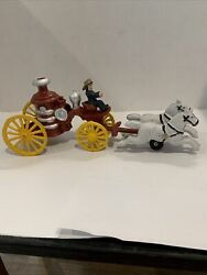 """Cast Iron Hubley Fire Engine Pump With Horses Vintage Toy 12"""" Hand Painted"""
