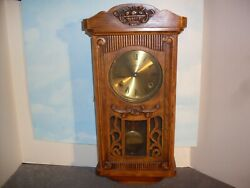 Vintage Hand Crafted Pendulum Wall Clock. Strikes On Hour And Half Hour. 1981