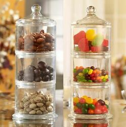 Glass Jars Clear With Lids For Food Kitchen And Room Pack 3-tier Wide Mouth Best