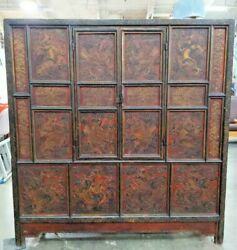 Antique Chinese Enamel Carved Hard Mahogany Wood Dragons Clouds Medicine Cabinet