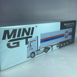 1/64 Tiny Mini Gt Mercedes-benz Antos Car 40ft Container Gulf Mgt00213-l