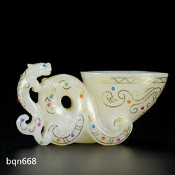 3.9rare Qing Dynasty Antique White Hetian Jade Natural Gem Inlay Beast Horn Cup