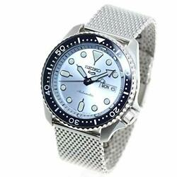 Seiko 5 Sports Watch Menand039s Sbsa069 Silver Light Blue Analog Round Face Suits