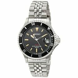 Seiko Watch Menand039s Szev012 Analog Round Face Silver Band Black Dial Limited Model