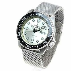 Seiko 5 Sports Watch Menand039s Sbsa067 Silver Ivory Analog Round Face Mechanical