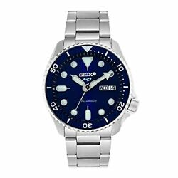 Seiko 5 Sport Watch Menand039s Srpd51k1 Silver Blue Analog Round Face Automatic