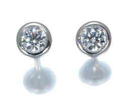 Auth And Co Diamond Earrings 0.17t 0.17ct By The Yard Pt950 Platinum